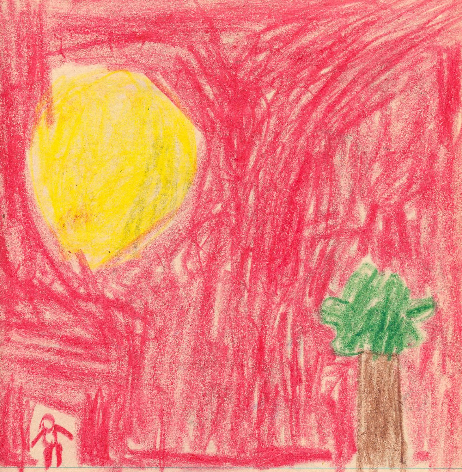 Drawing of a sun and tree