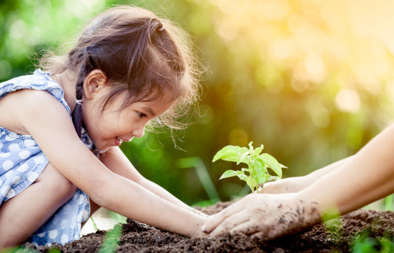 Young girl smiles while placing a plant in soil while hands from an older person help to guide her.