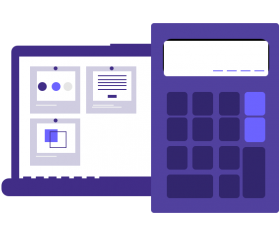 Illustration of a calculator and laptop