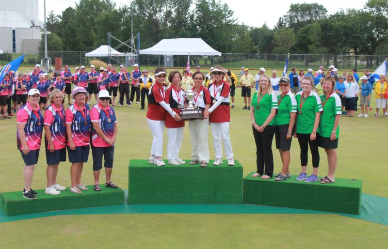 Podium at a national championship with gold, silver, bronze medallists