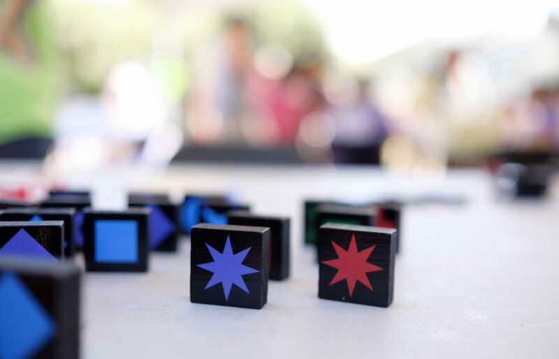 Table showcasing one of the games at the Back to School Picnic