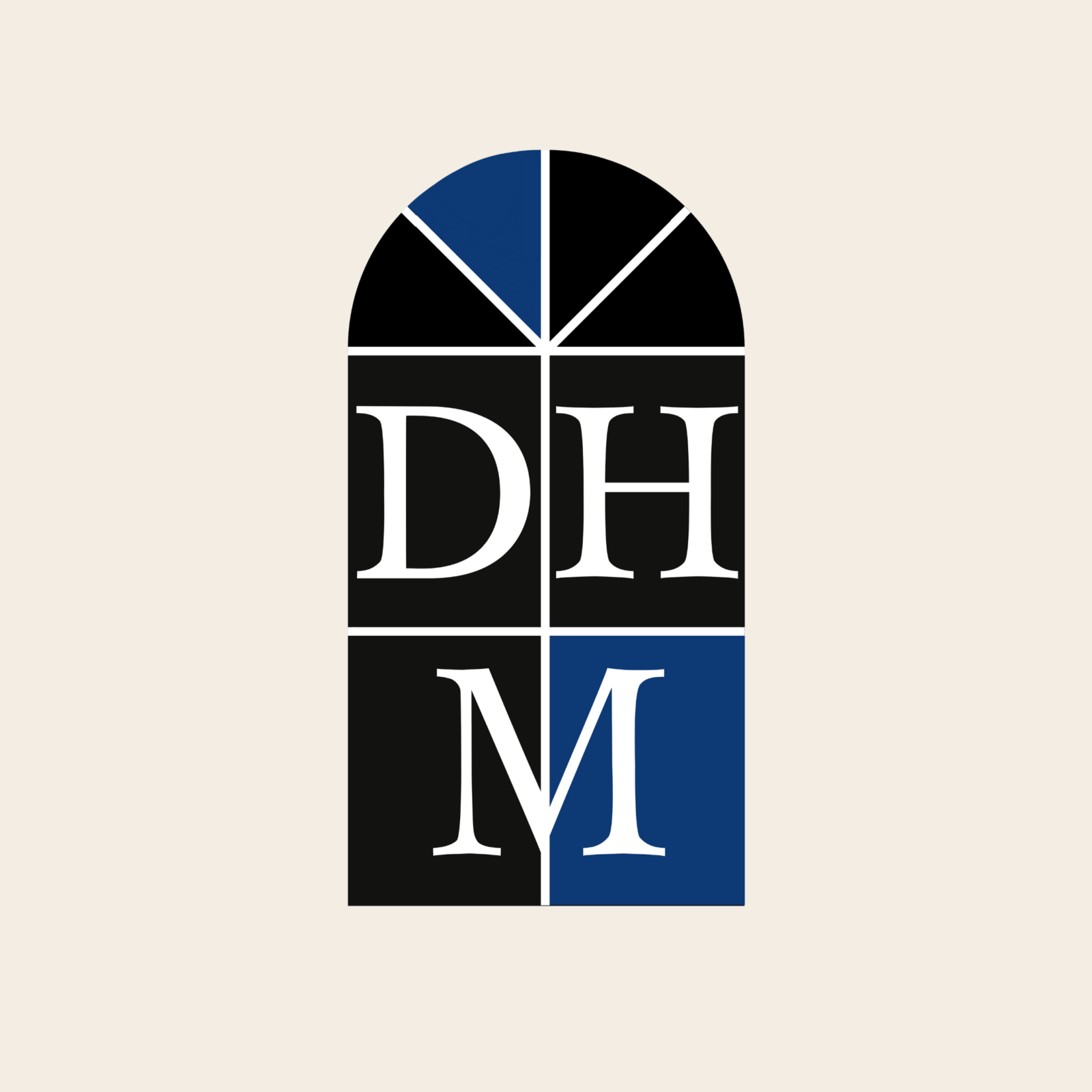 Logo for Dartmouth Herithage Museum. Features an arched window design with black and blue colours and