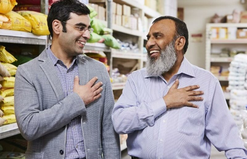"""Flemingdon Park grocery store owner, Iqbal Malek, with Michael Garron Hospital Chief of Cardiology Dr. Mohammad """"Mo"""" Zia"""
