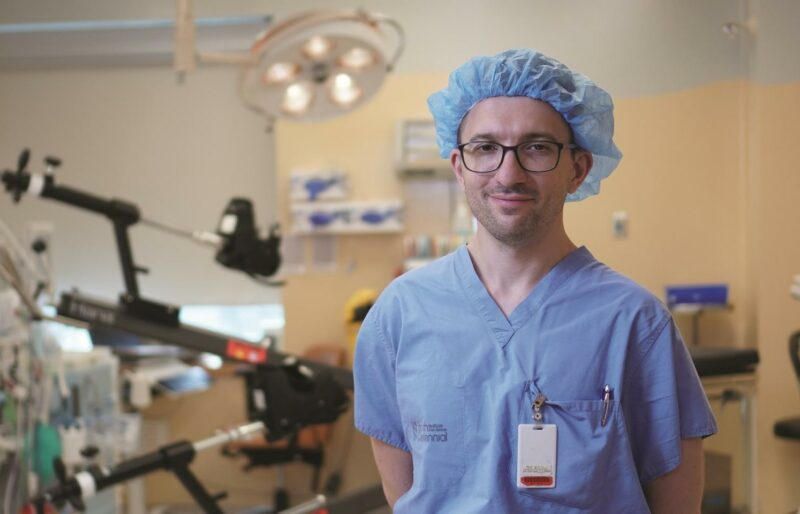 Dr. Tsvetkov with the Hana® table, a specially-designed operating table that enables surgeons to position patients facing upward
