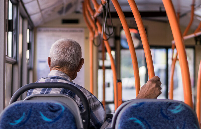 Senior man on a streetcar