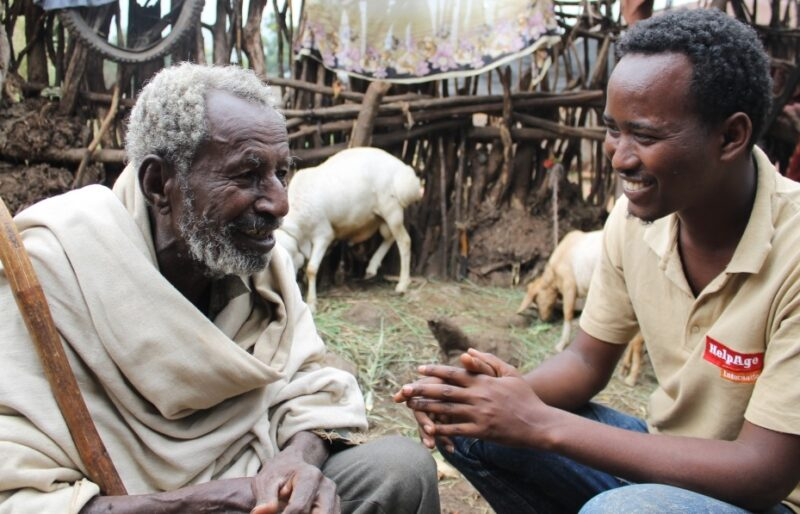 Older person in Ethiopia with HelpAge community facilitator