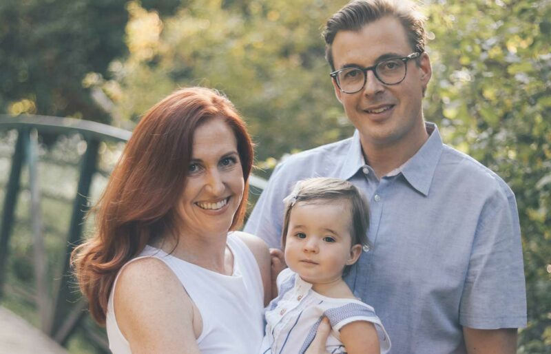 Caitlin Nagy with her husband and infant daughter
