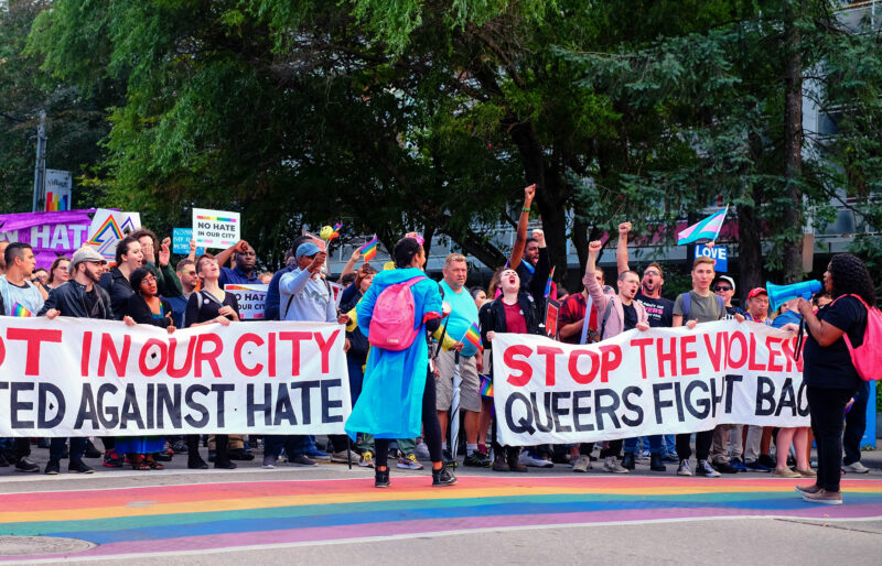 The 519 Army of Lovers Campaign Defend Church Street with banners calling for end of violence.