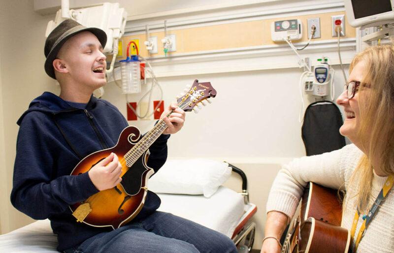 Justin and Karina play music together