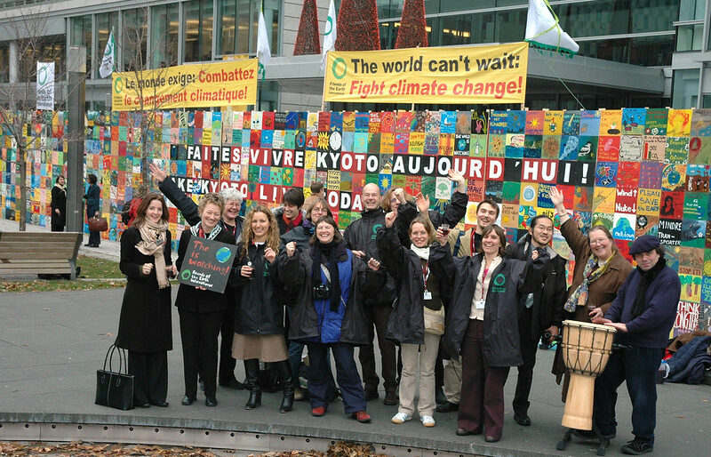 """The Climate Wall was erected and displayed during the Montreal Conference of the Parties in 2005. FOE groups tell world leaders """"The world can't wait!"""""""