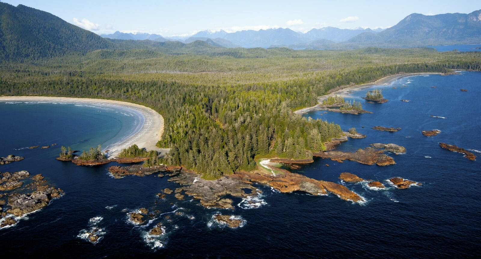 an aerial view of the british columbia coast