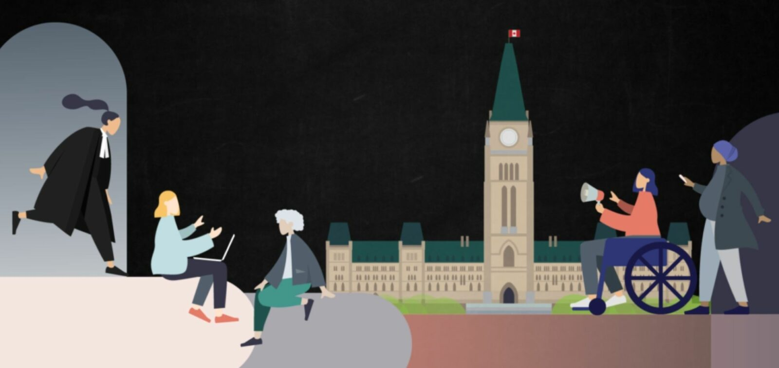 Illustration of a diverse group of women in front of parlimatent hill.
