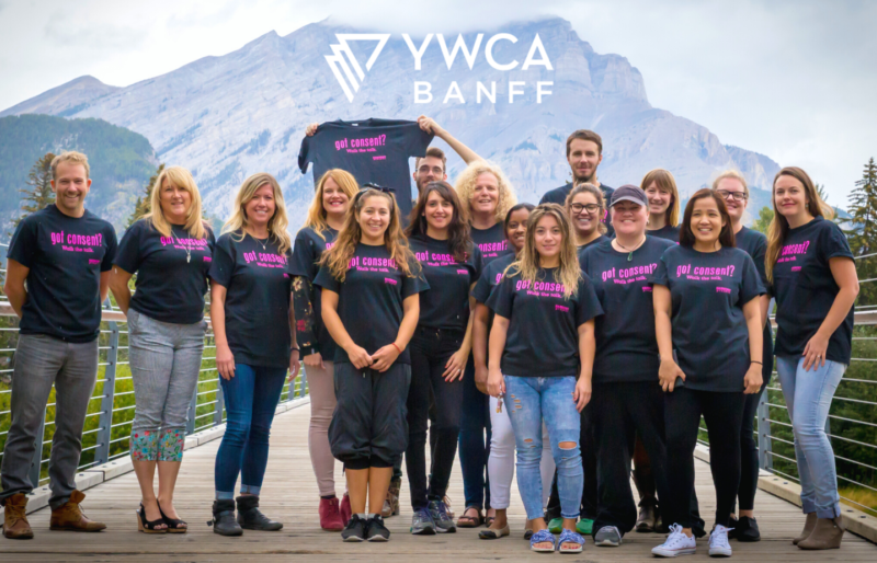 YWCA Team standing on the Banff Pedestrian Bridge during the Bow Valley Walk a Mile