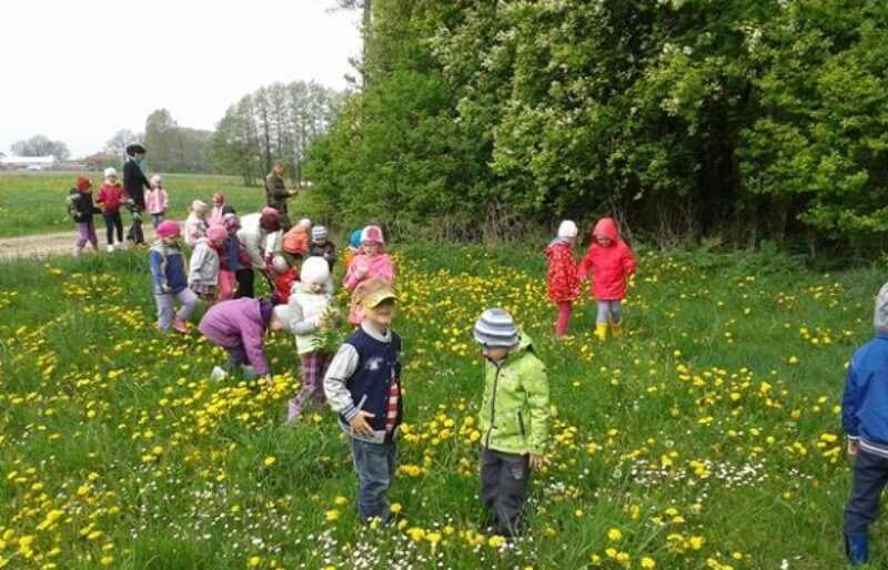 Primary grade students in spring coats walking through a field.