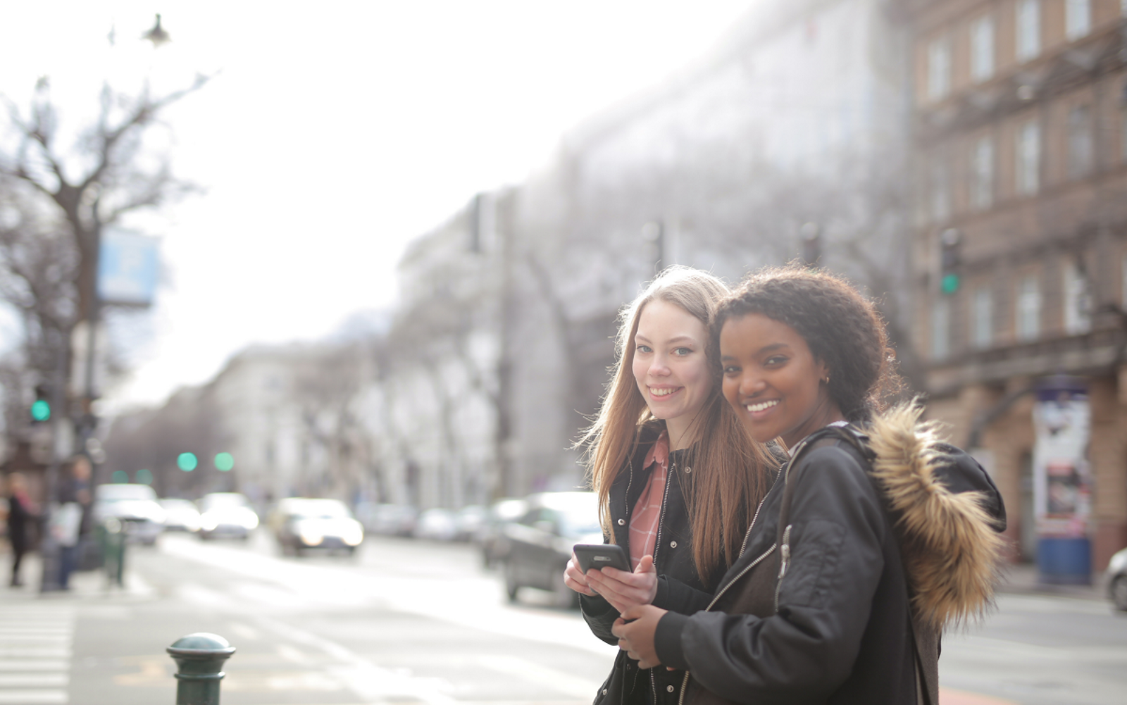 two young women on street